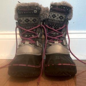 Kid London Fog Brown Pink Tottenham Boots Size 1